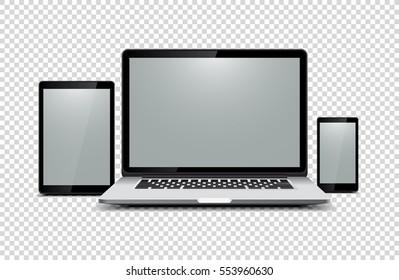 Black laptop, tablet, phone on transparent background