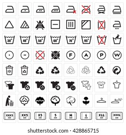 Black Laundry vector icons set in gray background