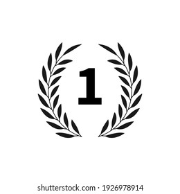 Black laurel with number one, vector emblem isolated on white background.Eps 10