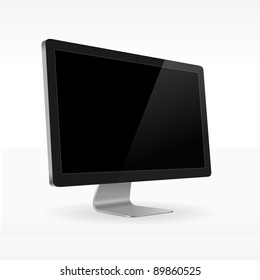 Black LCD screen sideview - Black LCD monitor isolated for presentations in vector format