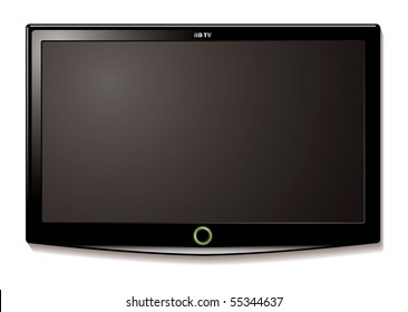 Black LCD tv screen hanging on a wall with shadow