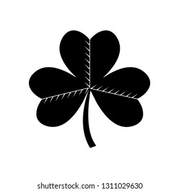 Black leaf clover icon isolated on white  background. Vector illustration