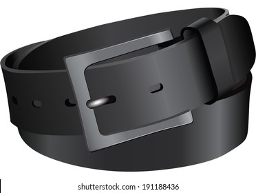 Black leather belt. Vector illustration without trace.