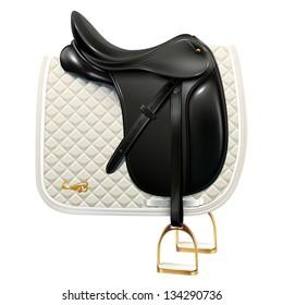 Black leather dressage saddle with white saddle pad isolated on white background