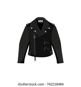 Black leather jacket isolated. Vector illustration.