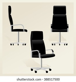 Black leather office chair for boss vector