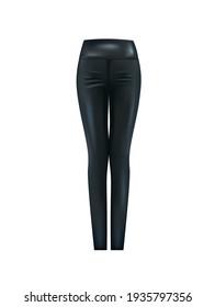 Black leather pants. vector illustration