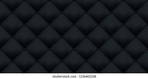 Black leather upholstery vintage luxury texture pattern background. Vector royal sofa leather upholstery with buttons seamless pattern