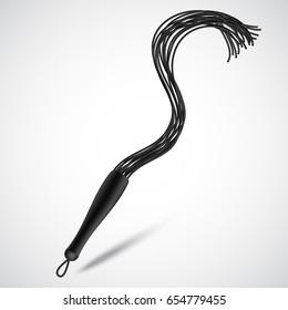 Black leather whip for sadomasochism, bondage and domination. Vector illustration
