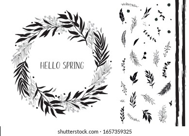 Black leaves and branches, round frame. Design elements for logo, greeting card, wedding invitation. Vector illustration.