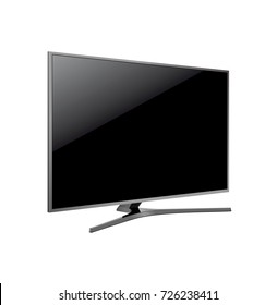 Black LED tv television screen blank on white background