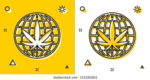 Black Legalize marijuana or cannabis globe symbol icon isolated on yellow and white background. Hemp symbol. Random dynamic shapes. Vector Illustration
