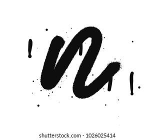 Black letter n. Graffiti spray font isolated on white background. Vector illustrations.