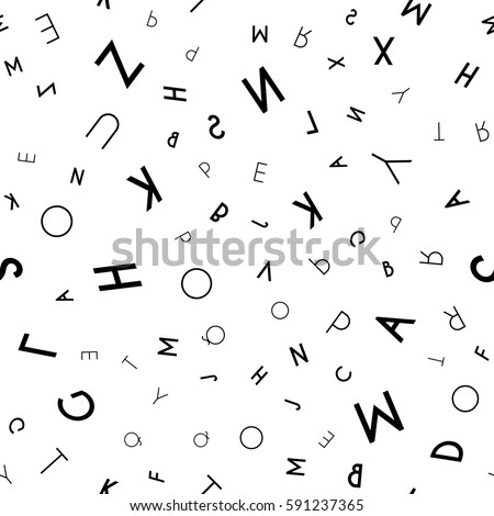 Black Letter Pattern On White Background Stock Vector Royalty Free