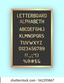 Black letterboard with golden letters, numbers, symbols. Hipster vintage alphabeth 80x, 90x