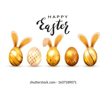 Black lettering Happy Easter and golden Easter eggs with rabbit ears, isolated on white background. Illustration with decorative Easter symbol can be used for holiday design, decorations and cards.