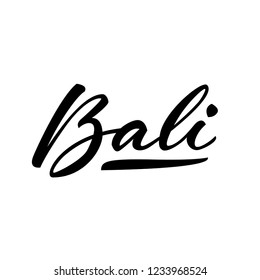 Black lettering logo Bali on white background. Isolated vector illustration. Handwritten modern calligraphy. Inscription for postcards, posters, prints, greeting cards, t-shirts.
