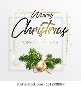 The black lettering Merry Christmas and wreath decoration from fir branches and golden ball on white background. Happy new year wishes. A square golden frame and golden dots around.