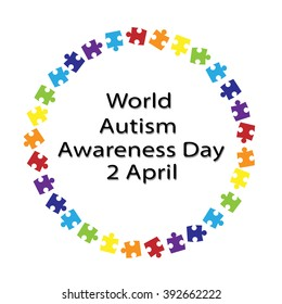 black lettering World Autism Awareness Day and colorful puzzle around on a white background . The symbol of autism . New rainbow Original Vector Illustration