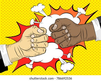 Black life matters, the concept of the struggle for equal rights. Two hands in bumping together, fighting gesture
