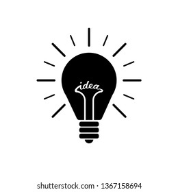 Black Light bulb flat icon with rays shine. Energy and idea symbol isolated on white background. Vector Illustration