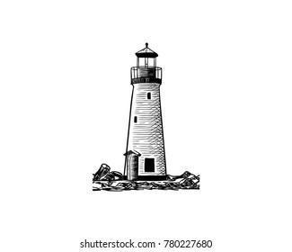 Black Lighthouse on the Beach Illustration Hand Drawing Logo Vector