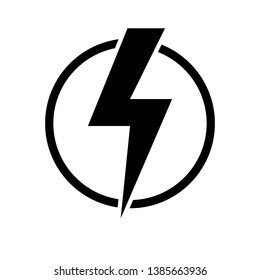 Black lightning bolt in circle simple flat icon. storm or thunder and lightning strike sign isolated on white. High electricity voltage symbol. Vetor illustratiion