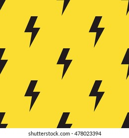 Black lightning bolts on yellow background. Seamless pattern in comic style. Vector illustration.