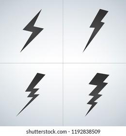 Black Lightning icon set. Vector illustration isolated on modern background.