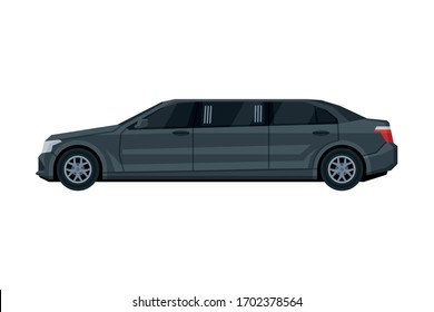 Black Limousine Car, Luxury Business Transportation Vehicle, Side View Flat Vector Illustration