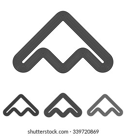 Black line abstract symbol logo design set