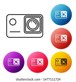 Black line Action extreme camera icon isolated on white background. Video camera equipment for filming extreme sports. Set icons colorful circle buttons. Vector Illustration