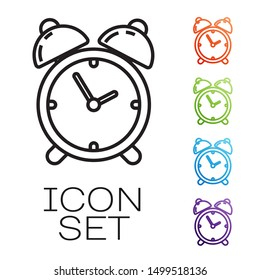 Black line Alarm clock icon isolated on white background. Wake up, get up concept. Time sign. Set icons colorful. Vector Illustration