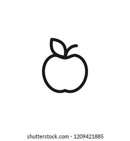 Black line apple with leaf icon. Flat pictogram isolated on white. Vector illustration. Healthy food logo.