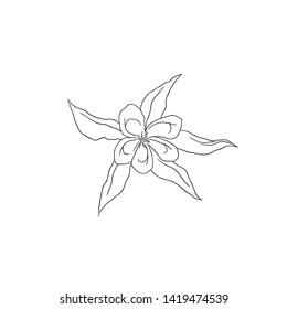 Black Line Art Columbine Flower in Hand Drawing Vector Art. the spurred petals or Aquilegia or Granny's Bonnet