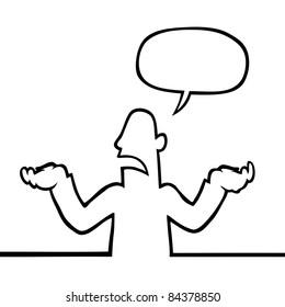 Black line art illustration of a person shrugging