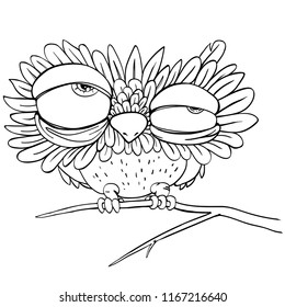 Black  line art isolated on white background. A funny sleepy owl sits on a branch.
