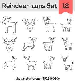 Black Line Art Set of Reindeer Icon In Flat Style.