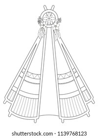Black line art of vector illustration of teepee isolated on white background. Useful for coloring pages and books.
