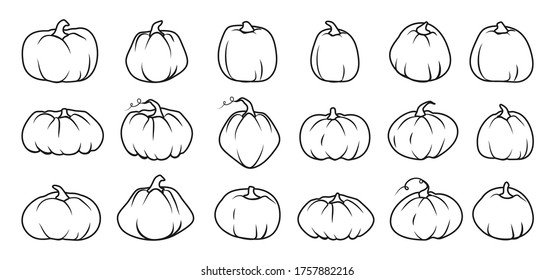 Black line Autumn pumpkin icon set. Contour template different shape gourd. Outline sign Thanksgiving and Halloween, season crop capacity. Linear style pictogram. Isolated on white vector illustration