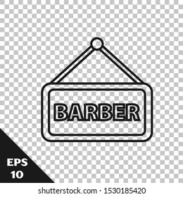 Black line Barbershop icon isolated on transparent background. Hairdresser logo or signboard.  Vector Illustration