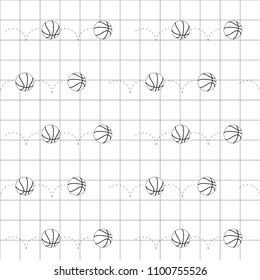Black line basketball balls icon over black line grid. Vector illustration. Seamless pattern. Line art.
