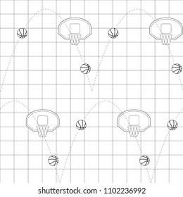 Black line basketball composition over black line grid. Vector illustration. Seamless pattern. Line art.