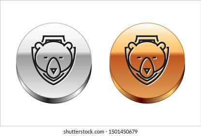 Black line Bear head on shield icon isolated on white background. Hunting trophy on wall. Silver-gold circle button. Vector Illustration