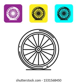 Black line Bicycle wheel icon isolated on white background. Bike race. Extreme sport. Sport equipment. Set icons colorful square buttons. Vector Illustration