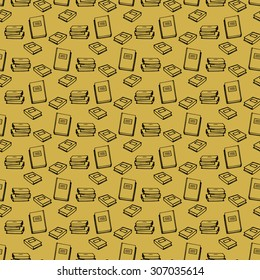 Black line book seamless pattern, yellow background