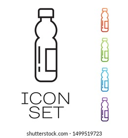 Black line Bottle of water icon isolated on white background. Soda aqua drink sign. Set icons colorful. Vector Illustration