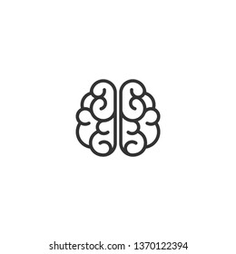 Black line   brain icon. Intellect, phsychology, knowledge simple pictogram isolated on white. flat vector illustration.