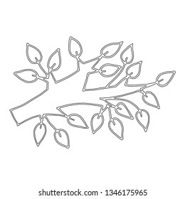 Black line branch of tree isolated on the white background. Tree for coloring book or page.