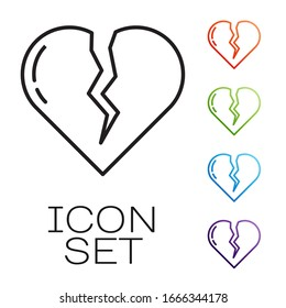 Black line Broken heart or divorce icon isolated on white background. Love symbol. Valentines day. Set icons colorful. Vector Illustration